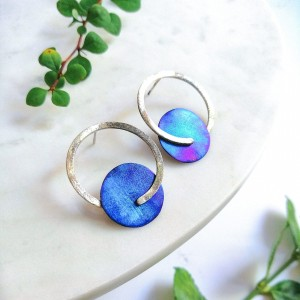 Silver earrings with titanium